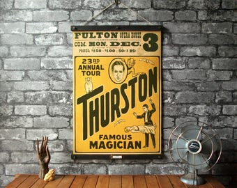 Thurston, Famous Magician /Vintage Pull Down Reproduction /Canvas Fabric or Paper Print /Oak Wood Hanger wtih Brass Hardware /Organic Finish