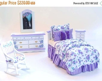 SPECIAL SALE PURPLE Violets Girl's Twin Bed Bedroom Set Dollhouse Miniature 1:12 Crib Cottage Chic Flowers Artisan Hand-Painted Ultra Violet