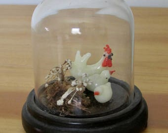 Blown Glass Chicken Family Under Small Cloche Vintage Made in Japan Figurines