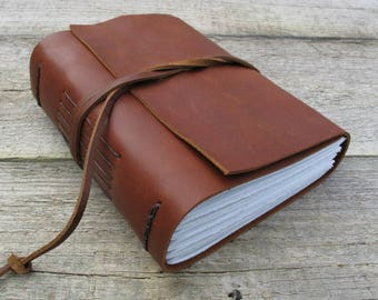 """Leather journal / """"I write to discover what I know"""" / Flannery O'Conner quote / 320 pages / rustic journal / gifts for writers"""