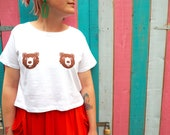 Bear Tits Crop Top, funny bear tee, summer tshirt, brown bear top, bears t-shirt, crop t shirt, animal tshirt, cropped top, white crop top,