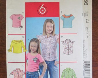 McCalls M4866 paper uncut pattern fashionable  childrens and girls tops size 10-12-14 girls