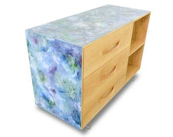 Resin Art Sideboard - Oak drawer and shelf credenza unit with poured resin art finish