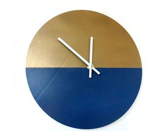 Modern Wall Clock, Navy Blue and Gold Clock, Trending, Decor and Housewares, Home Decor, Home and Living