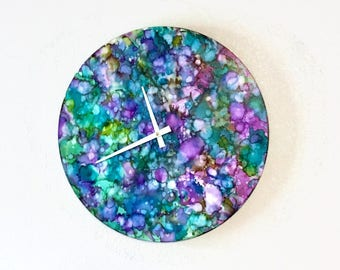 Large Clocks, Alcohol Ink Wall Art, Abstract Home Decor and Art, Decor and Housewares, Unique Wall Clock