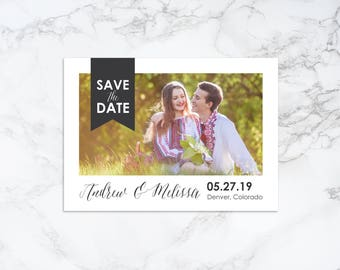 Printable Modern Photo Card Save the Date