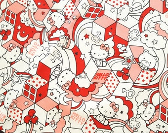 Sanrio Hello Kitty canvas fabric, hide and seek theme, quilting fabric, cute fabric, sewing fabric, children fabric, illustration