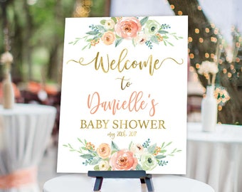 Floral Baby Shower Welcome Sign, floral peach mint and gold Welcome Sign - Flower Baby Shower Customized Sign - Rustic chic, girl baby