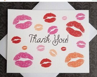 ON SALE Kiss Lips, Thank You Cards, 8ct