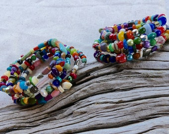 Four Wrap Memory Wire Bracelets with Small Gemstones, Shell and Glass