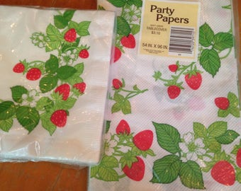 vintage NOS deadstock paper napkins and tablecover set strawberries