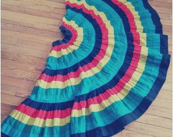 vintage 1950s 50s Arizona Original cotton circle swing skirt, striped, southwestern, rainbow, pin-up, size s/m