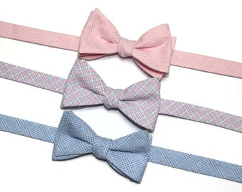 Plaid Bow Tie~Mens Self Tie Bow Tie~Mens Pre-Tied~Anniversary Gift~Wedding Tie~HoBo Ties~Cotton Bow Tie~Mens Gift~Wedding Bow Tie~Blue~Pink