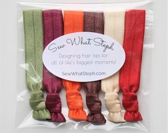 Pumpkin Spice Hair Tie Package / 6-ct / Fall Colors / Creaseless Hair Ties / Everyday Wear / Boho Wristlet Ties / Pumpkin Spice Latte