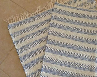 Hand Woven Striped Rug, Rag Rug, Accent Rug, Throw Rug, Floor Runner, Table Runner of asorted knits in Blue and White