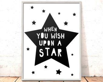 When You Wish Upon A Star Print Poster Art for Boys Girls Room Kids Room Scandi Nursery Art Modern Nursery Print Disney Art Kids Room