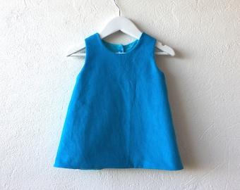 Baby girl reversible pinafore dress blue corduroy dress