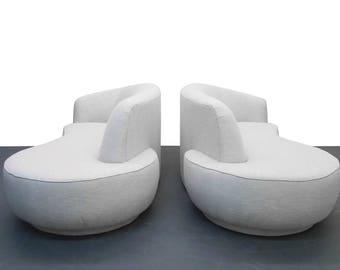 Pair of Mid Century Serpentine Style Sofas by Vladimir Kagan for Weiman