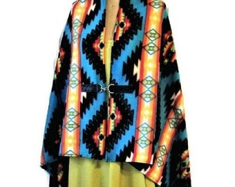 ON SALE Poncho, Native American, Style, Blue,Shawl, Cape, Womens, Blanket Poncho, Vintage Print, Southwestern, Western, Gift For Her, Handma