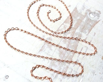 6ft 3mm Ladder Chain Flat Link Solid Copper Small Fine Small Fancy Cable Chain, Delicate Flattened Strong Link