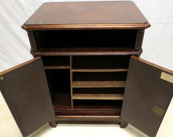 Antique Flame Mahogany Locking Cabinet Office Safe Record Album Music Storage Sheraton Regency Style American Made with Provenance