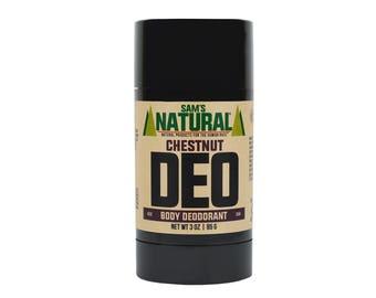 Sam's Natural - Chestnut Natural Deodorant for Men - Gifts for Men - Natural, Vegan + Cruelty-Free