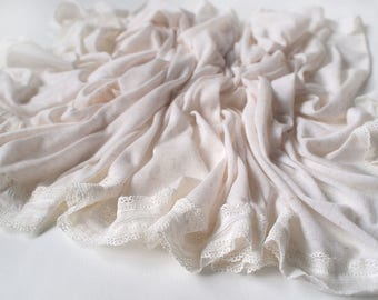 Lace Trim Stretchy Jersey Wrap (IVORY)  - Newborn photography Props