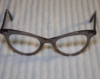 Vintage Translucent Smoke Grey Cat Eye Rx Glasses Frames