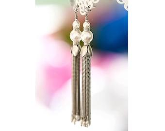 Tassel earrings Pearls earrings Chain earrings Long earrings Silver earrings Extra long earrings Dangle earrings Chain tassel earring 512