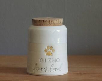 custom pet urn. small collar shape. human ashes urn, pet urn. white on white porcelain. modern pottery urn, custom text