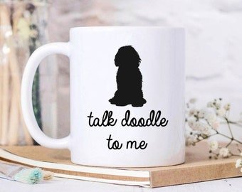 Goldendoodle Gifts for Mom Talk to Me Goldendoodle Mug Funny Doodle Dog Coffee Mugs for Her Personalized Doodle Home Decor with Custom Name