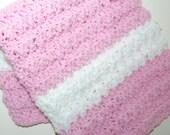 "Crochet Baby Blanket Approx 15x20"" Handmade Soft Cuddly Pink Nursery Bedding Preemie Blanket Baby Decor Stroller Blanket Baby Shower Gift"