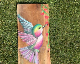 Hummingbird- soft chalk pastel drawing on reclaimed pre-civil war barn wood siding