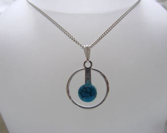 Sterling Silver Necklace Turquoise Gemstone 18""