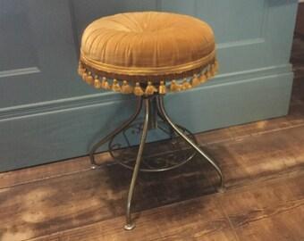 Vintage Metal Vanity Stool Adjustable Height StoolGold Fringe & Vanity stool | Etsy islam-shia.org