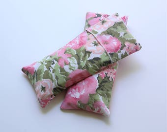 Eye Pillow Floral Cotton with Insert and Washable Cover,  Flax/Lavender