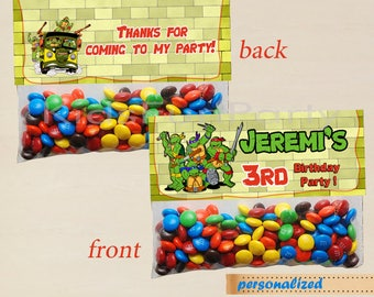 TMNT Favor Bag Toppers  - Party Favor Label Tags  - Printable Teenage Ninja Mutant Turtles Birthday Party Ziploc Bag Decoration