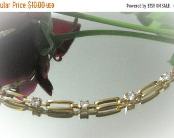 30% Off Clearance Sale Vintage Retro Gold Tone and Clear Rhinestone Bracelet