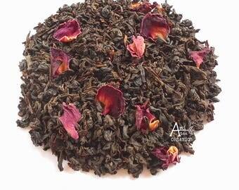Tea, Rose, Organic, ENGLISH ROSE, Whole Leaf, Black Tea, Hand Blended, Floral Tea, Garden Party, Iced Tea, Caffeinated, 2oz, Earth Friendly