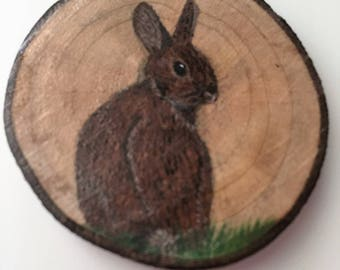 Brown Bunny Recycled Wood Magnet Brown Rabbit in Grass Fridge Hand Painted Magnet Kitchen Decor