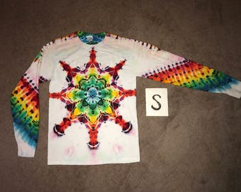 Tie Dye T-Shirt ~ Fire Mandala With White Background ~ i-5851  in Long Sleeve Adult Small