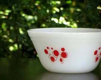 Federal Glass Red Atomic Dot Mixing Bowl Heat Proof Milk Glass Mid Century Kitchen Polka Dots With Curls