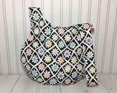 Medium Japanese Knot Reversible Knitting Crochet Project Bag Pocketbook - Rainbow Daisies