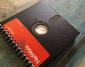 Custom Floppy Disk Journal 5-1/4 inch handmade comb-bound recycled/up-cycled blank journal
