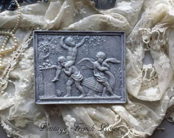 Cherubs Vintage Chalkware Wall Plaque Hanging Grey Stone Finish Baby Nursery Wedding Romatic French Farmhouse Cottage Decor
