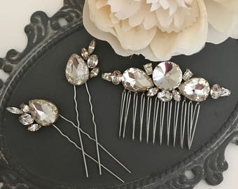 Bridal Comb Set ~ Hand soldered three piece set, Bridal Comb, Bridal Hair Pins, Rhinestone bridal comb, Rhinestone Bridal Hairpins