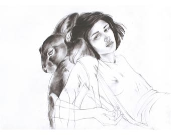 Woman and Rabbit Familiar (Watership Down) Fine Art Print