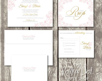 Blush and Gold Roses Floral Simple but Elegant Wedding Invitation