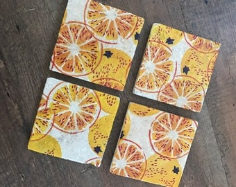 Decoupaged natural stone coasters