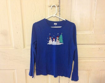 Blue Snowman Festice Holiday shirt - size S